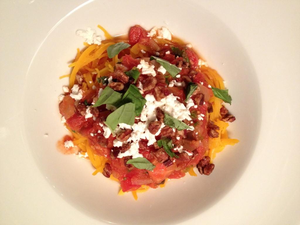 "Butternut Squash ""Pasta"" with Marinara Sauce, Candied Pecans, Goat ..."